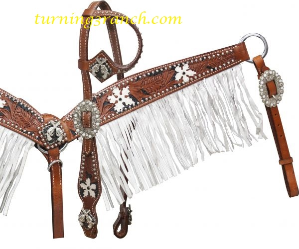 Showman Large Natural Light Leather Saddle Tie on Cross W// Silver Beads Tack for sale online