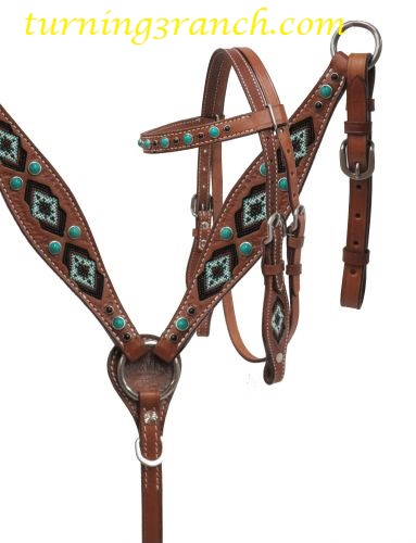 Leather tooled pony breast collar