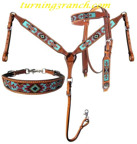 Horse Tack Tooled Headstall Breast Collar Set w// Turquoise Cross 8035