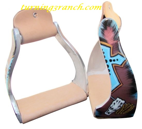 Showman American Pride With Eagle And American Flag Aluminum Stirrups.