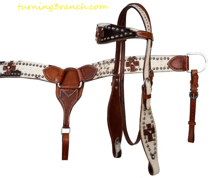 New Horse TACK! Showman Leather Headstall /& Breast Collar Set w//Light Blue Beaded Inlays