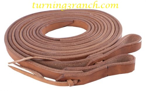 """SHOWMAN 8/' X 1//2/"""" Oiled Harness LEATHER ROPING REINS With Water Loop Ends"""